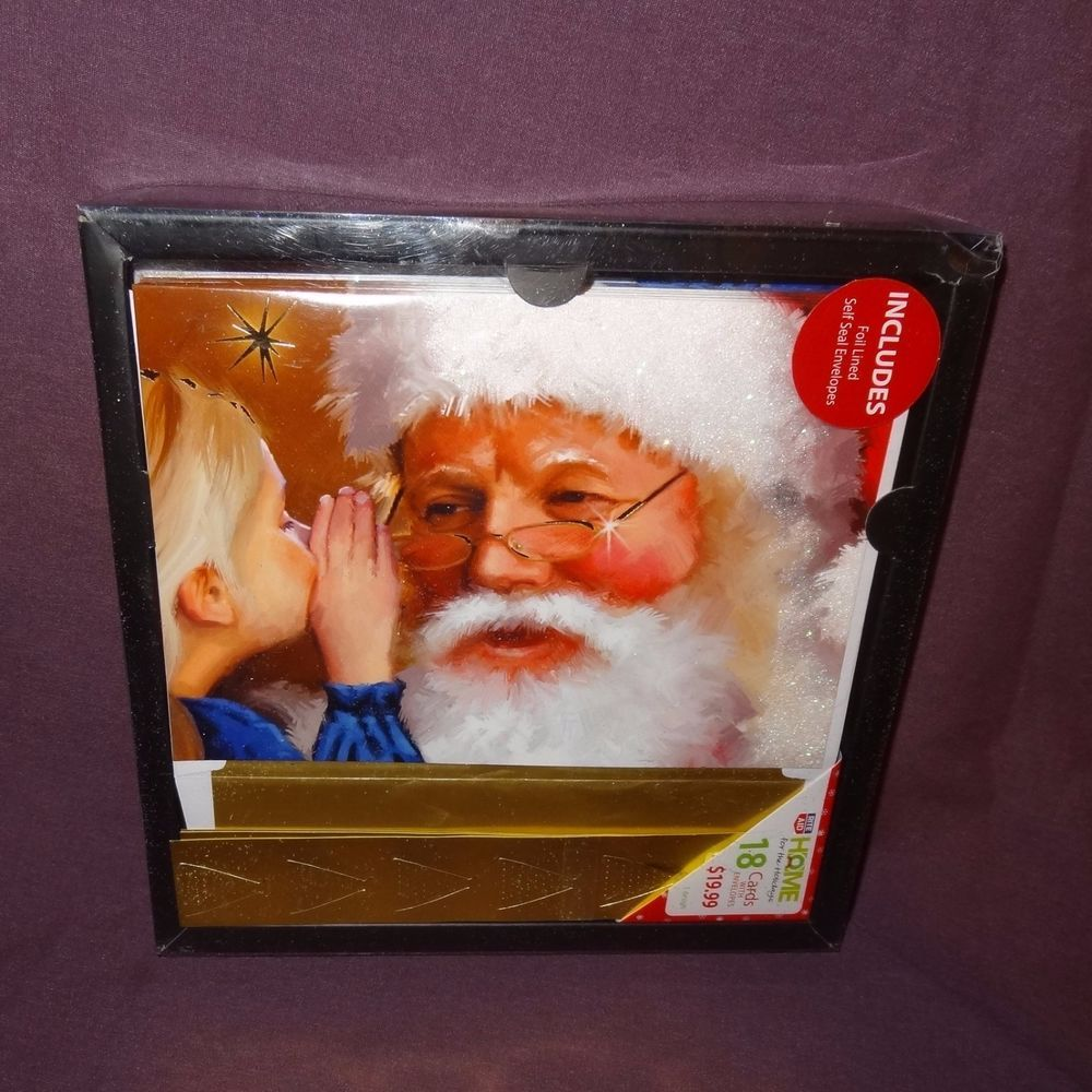 Santa Claus Box Christmas Cards 18 Holiday Greeting Foil Lined ...