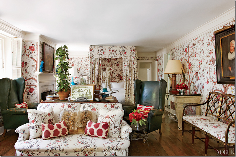 """Bedroom done in Braquenié's """"Tree of Life"""" fabric, with pops of blue and antiques - Romualdez"""