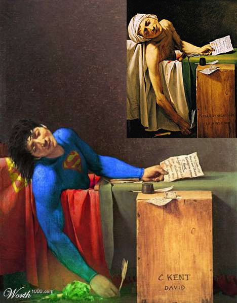 The classical painting of David from his hero Marat in a painting with a nowadays hero