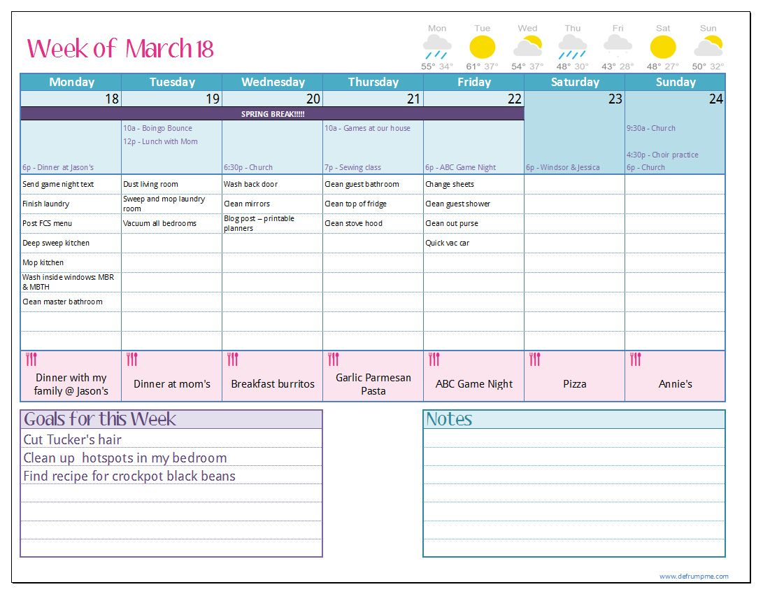 Love The Look Of This One Maybe I Can Create In Excel Defrump Me Weekly Planner Printable