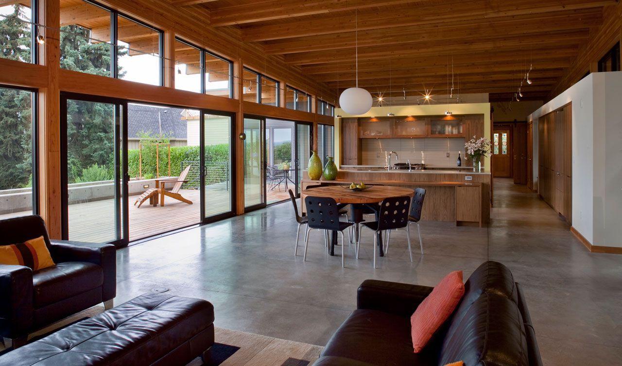 Diseño de casa de madera de una planta, moderna construcción se ...