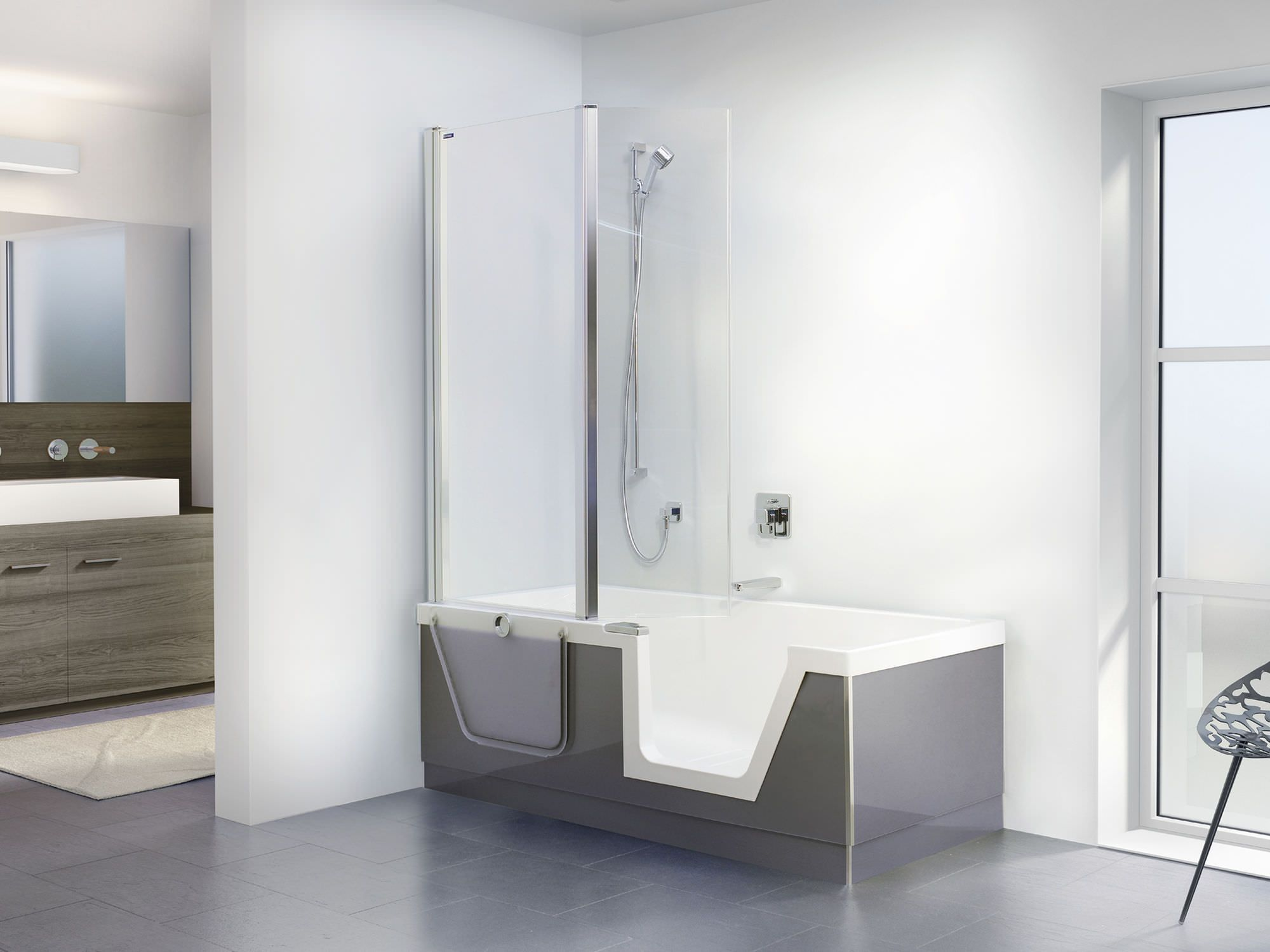 Free-standing bathtub-shower combination / rectangular / acrylic ...