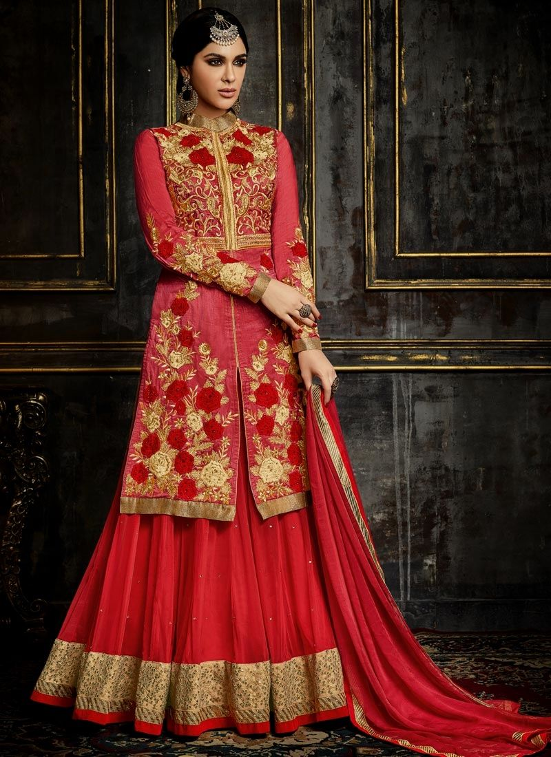 buy latest lehenga choli designs for party, wedding, marriage, reception or any events. Order now! This innovative embroidered, patch border and resham work long choli lehenga.