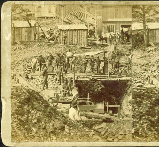 Drifting for Gold. Placer digging under Deadwood. Photographer: Stanley J. Morrow, c. 1876-1879