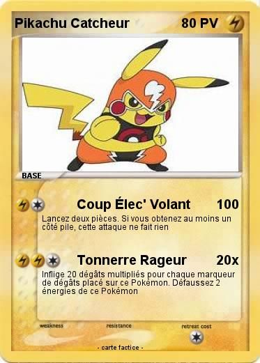 Pokemon Pikachu Catcheur | Catcheur, Carte pokemon