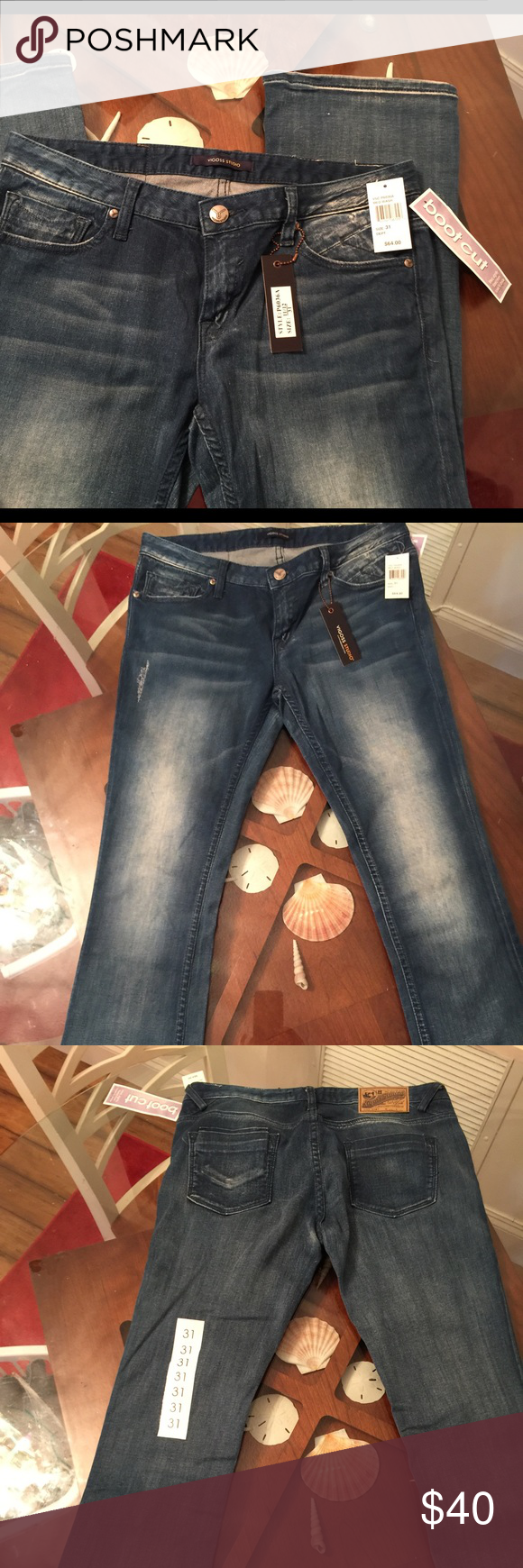"""Vigoss medium wash boot leg flare jeans Vigoss medium wash bootcut flare jeans. New w tags. Fitted, slightly flared from knee to ankle  Size 31. Women's size 11/12.  Inseem: 32 Boot opening: 18""""  Smoke free home Vigoss Jeans Boot Cut"""