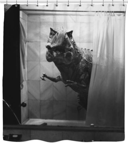 Realistic Dinosaur Shower Curtain Art Black And White Pictures