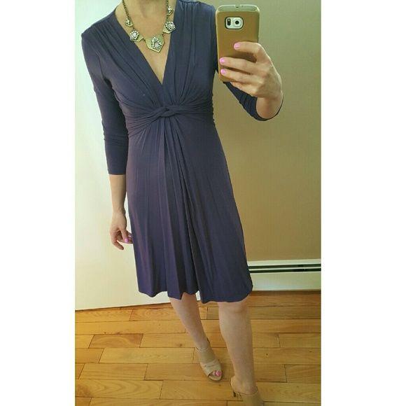 NY&Co purple front knot jersey flowy dress XS NY & Co purple front knot dress. Ties in back.  3/4 sleeve. Jersey material. NWT. Sz XS New York & Company Dresses