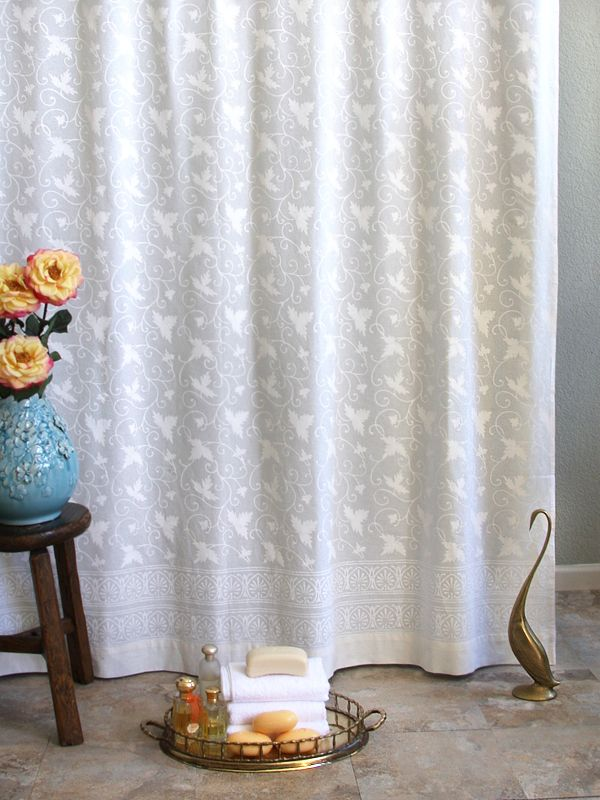 Ivy Lace White On White Vintage Country Cottage Shower Curtain