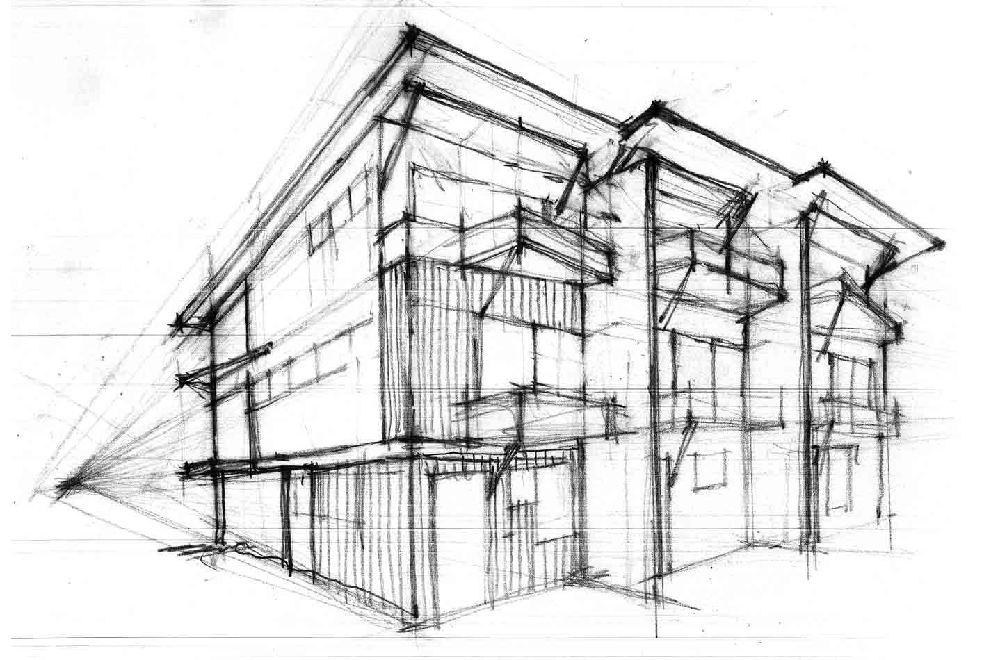 for Architecture modern house design 2 point perspective view