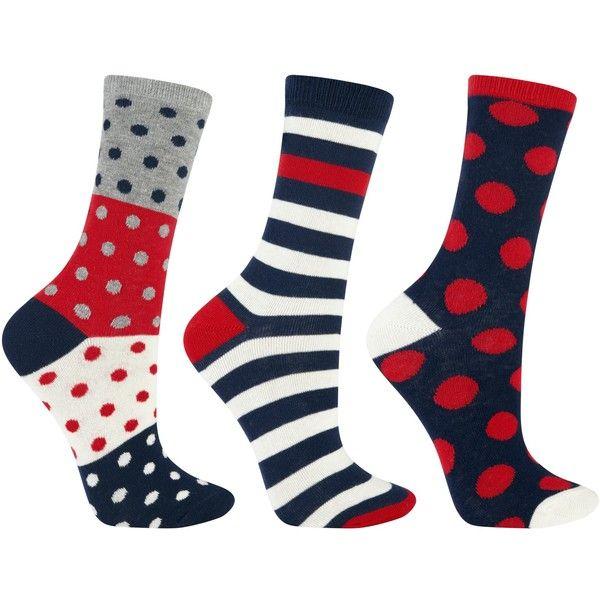 John Lewis Spot And Stripe Ankle Socks Pack Of 3 Multi Ankle Socks Socks Striped Socks
