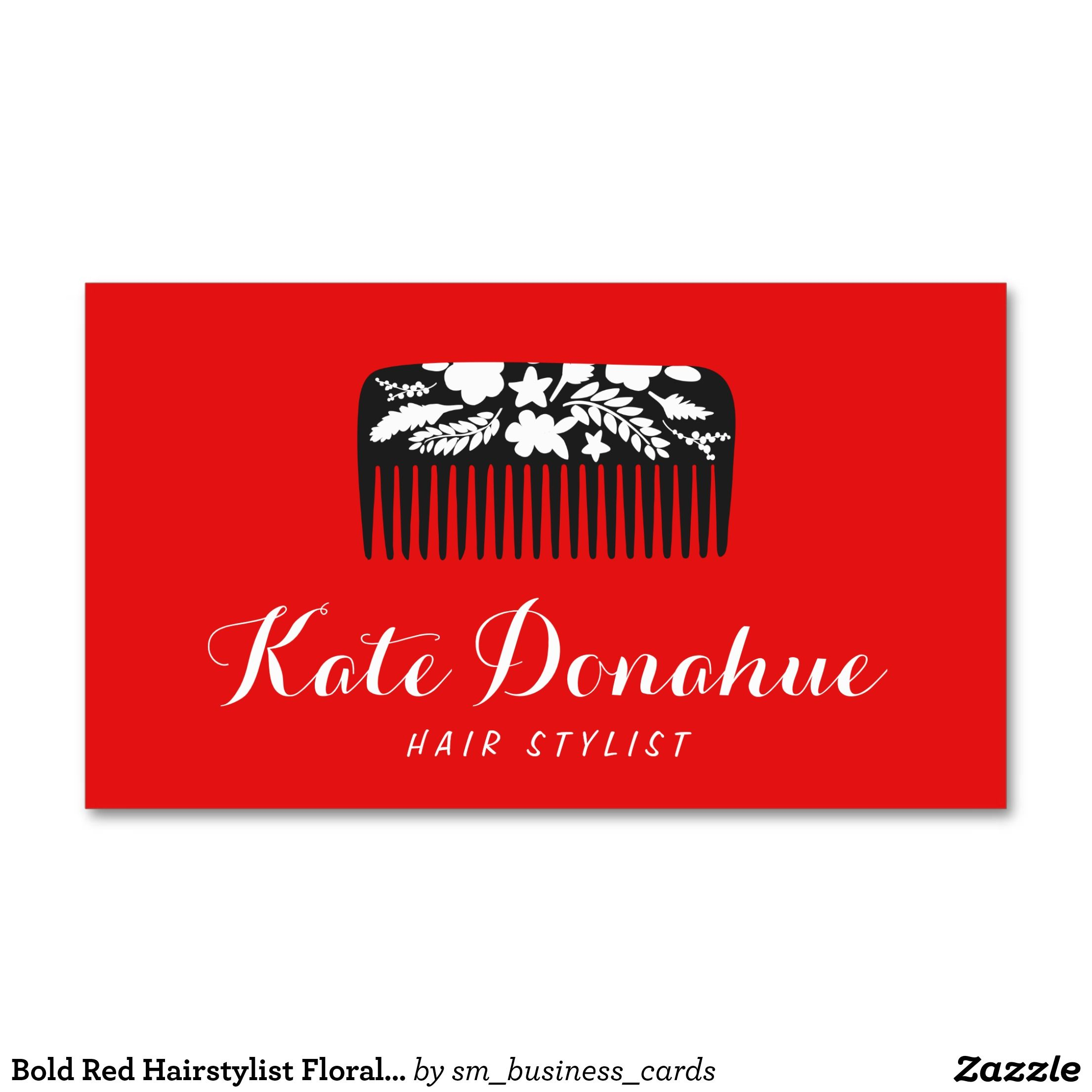 bold red hairstylist floral b hair salon standard business card