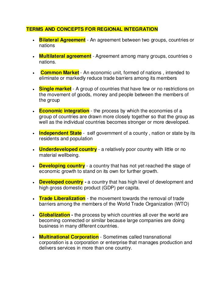 TERMS AND CONCEPTS FOR REGIONAL INTEGRATIONu003cbr \/u003eBilateral - agreement format between two companies