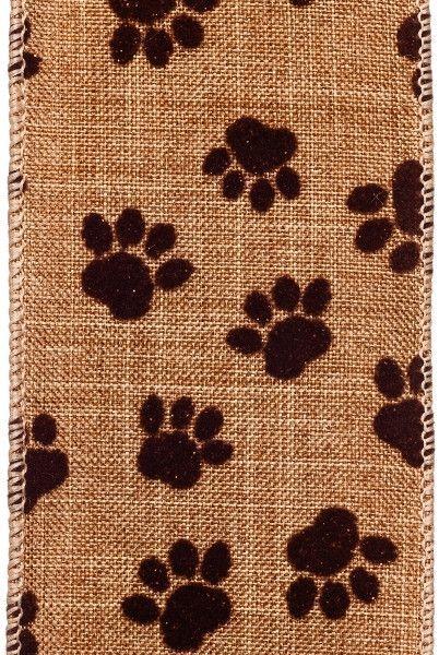 linen w/ mini flocked paw prints, brown/brown