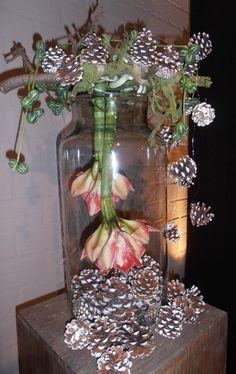 Foto: Grote glazen pot met denneappels, amaryllis een paar takken en wat sierlijk groen. Ik zeg een TOP stuk en zo simpel te maken.. Geplaatst door almerepoort op Welke.nl #amaryllisdeko