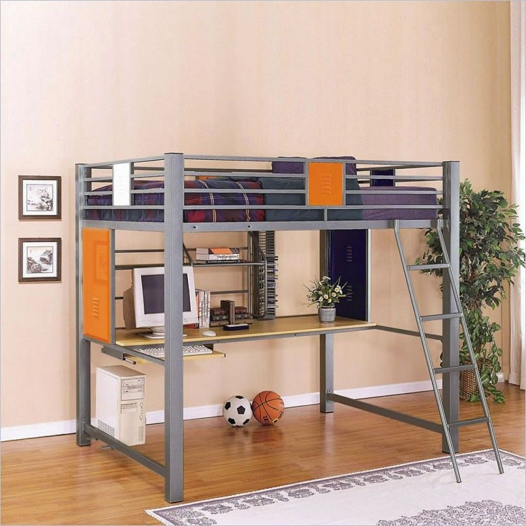Metal loft bed ideas  Powell Teen Trends Full Size Loft Bed with Study Desk  For My