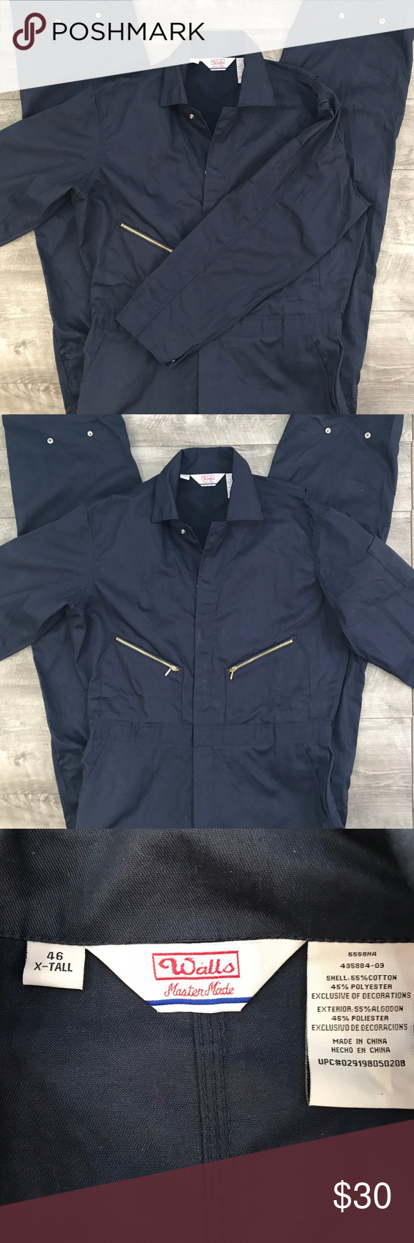 walls master made navy blue long sleeve coveralls walls on walls coveralls id=19350