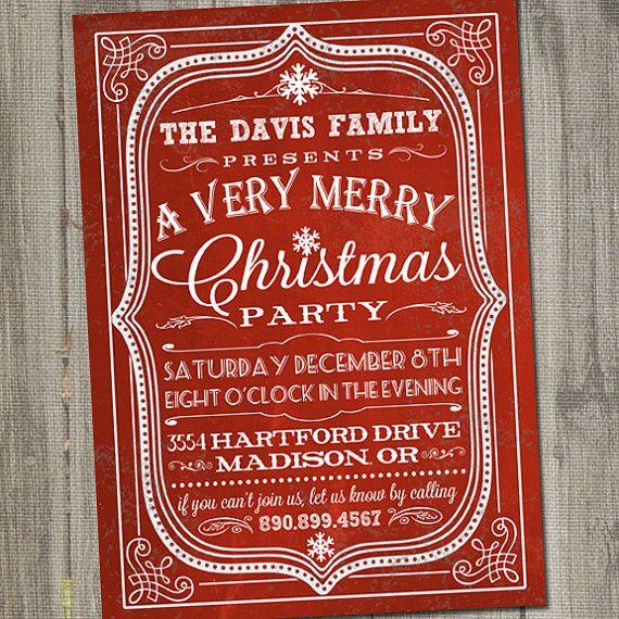 Retro Christmas Party Ideas Part - 27: Christmas Party Invitation Christmas Invitation By Partymonkey