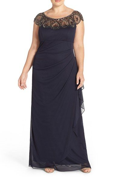 Xscape Beaded Neck Empire Gown Plus Size Available At Nordstrom
