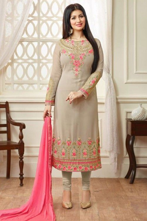 5c8de9175687 Bollywood Ayesha Takia Beige Georgette Churidar Suit With Dupatta Online(DMV14489)  http