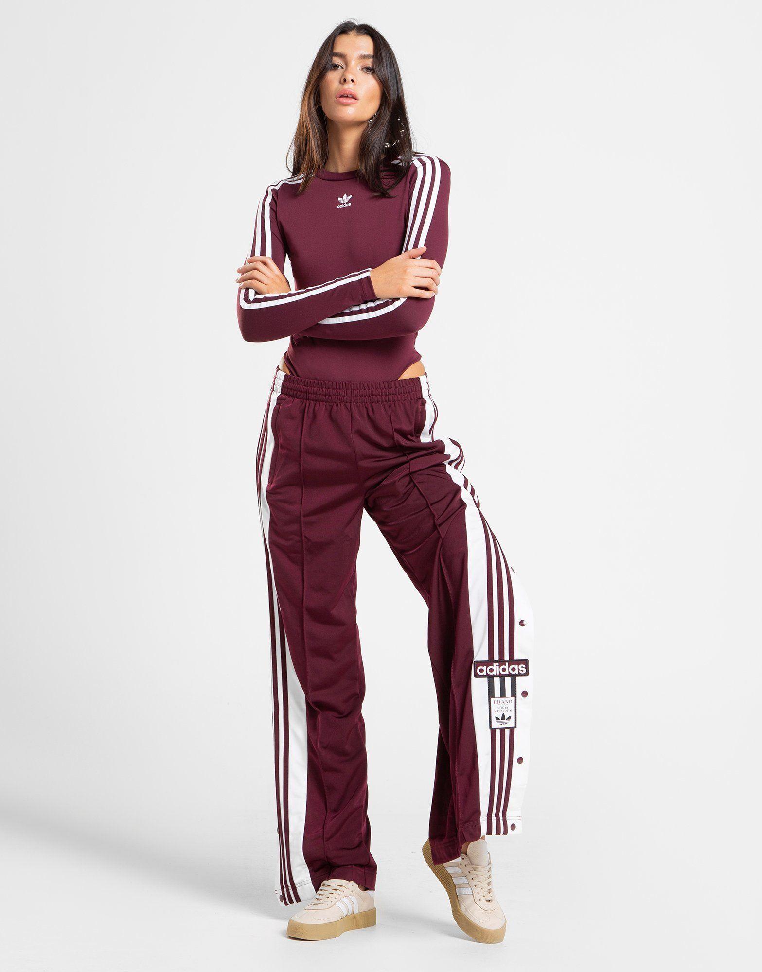 adidas Originals Three Stripe Long Sleeve Top In Burgundy