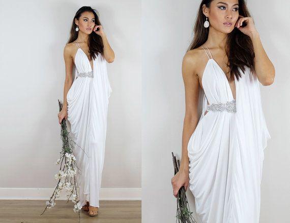 Ivory Wedding Dress, Grecian Wedding Dress, Ivory Gown, Ivory Dress ...