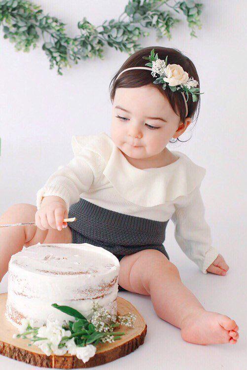 Ivory Baby Flower Crown Headband - B i r t h d a y s #firstbirthdaygirl