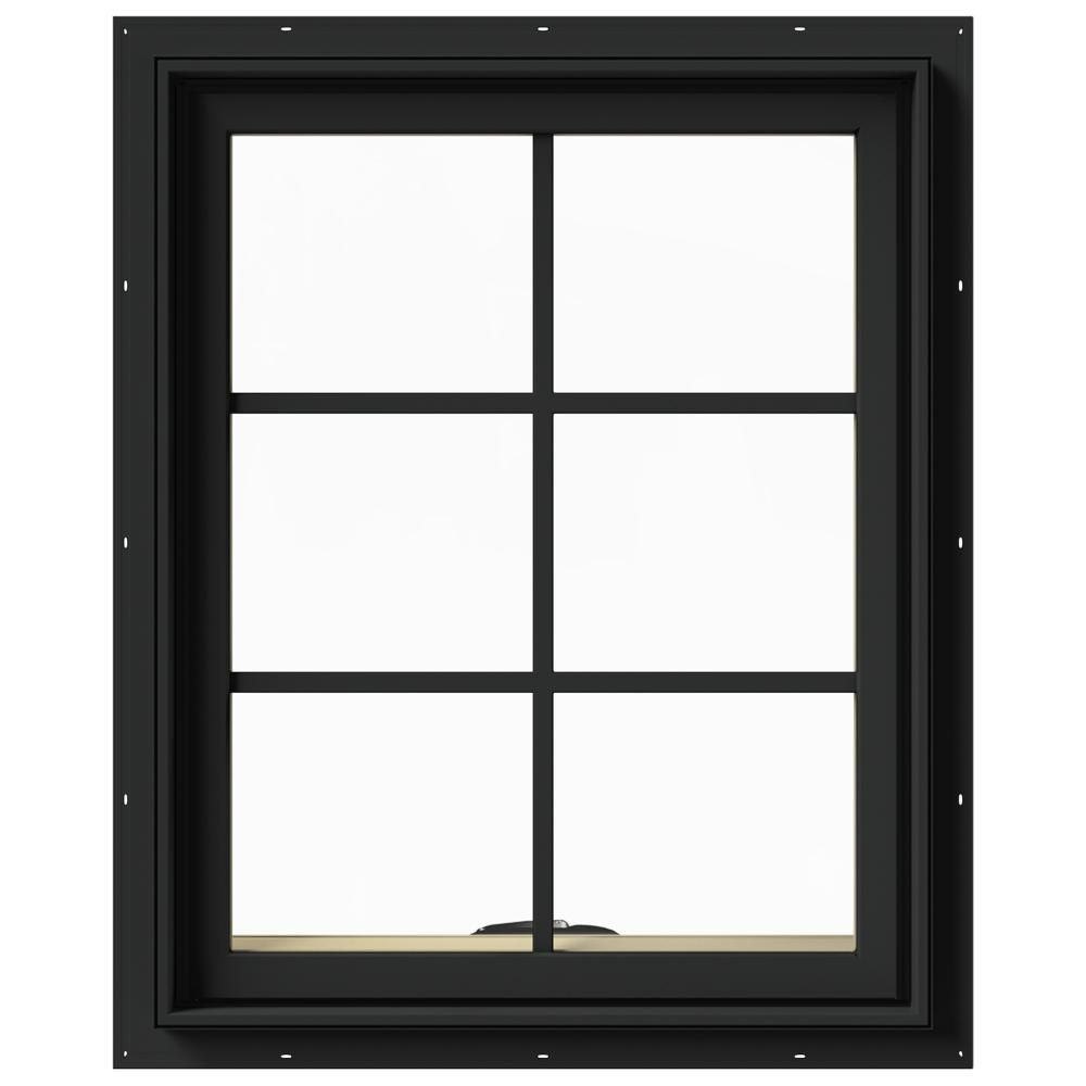 Jeld Wen 24 In X 30 In W 2500 Series Bronze Painted Clad Wood Awning Window W Natural Interior And Screen Natural Interior Window Awnings Windows
