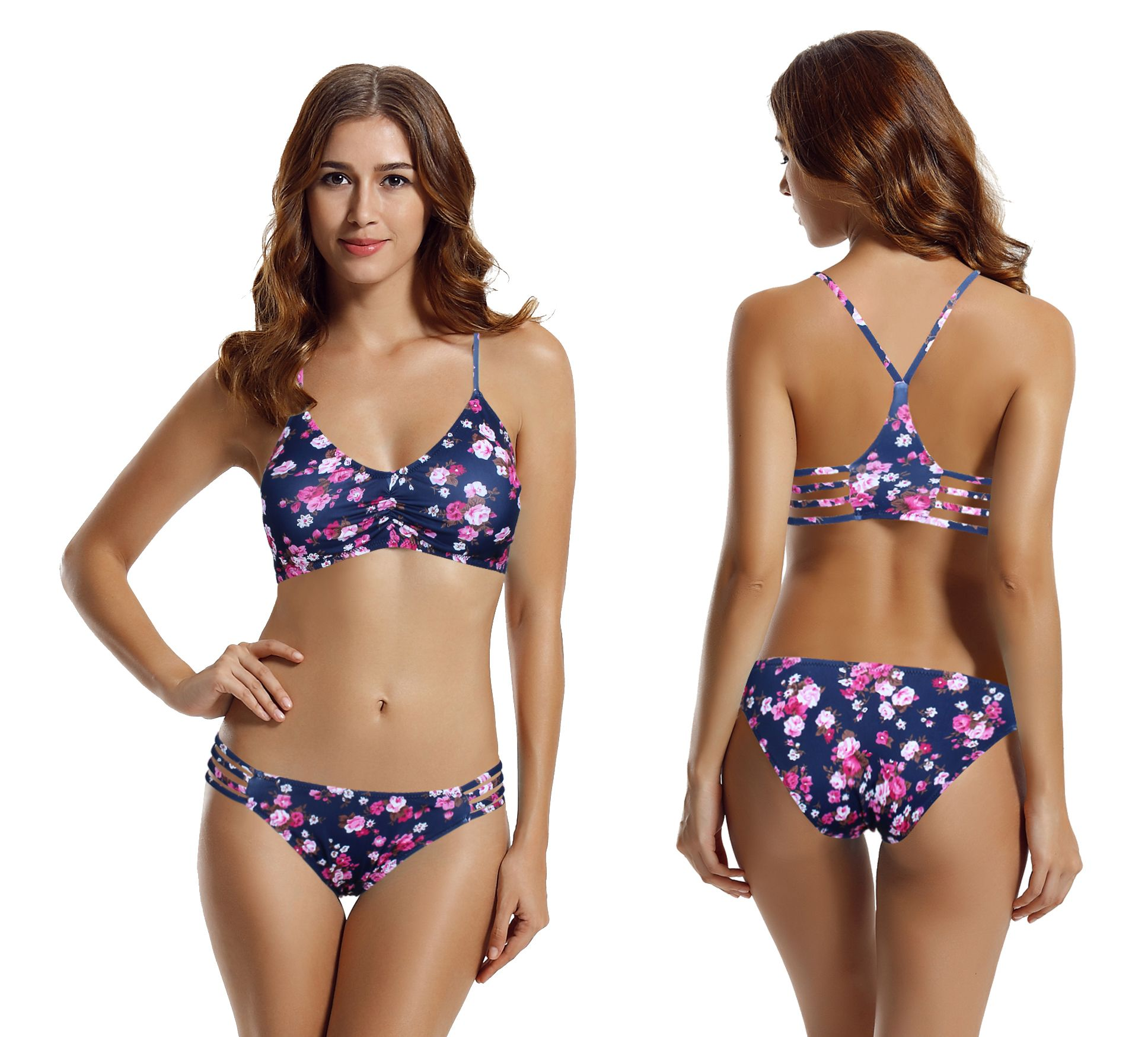 9948df0ff449f zeraca Women's Strap Side Bottom Halter Racerback Bikini Bathing Suits (FBA)