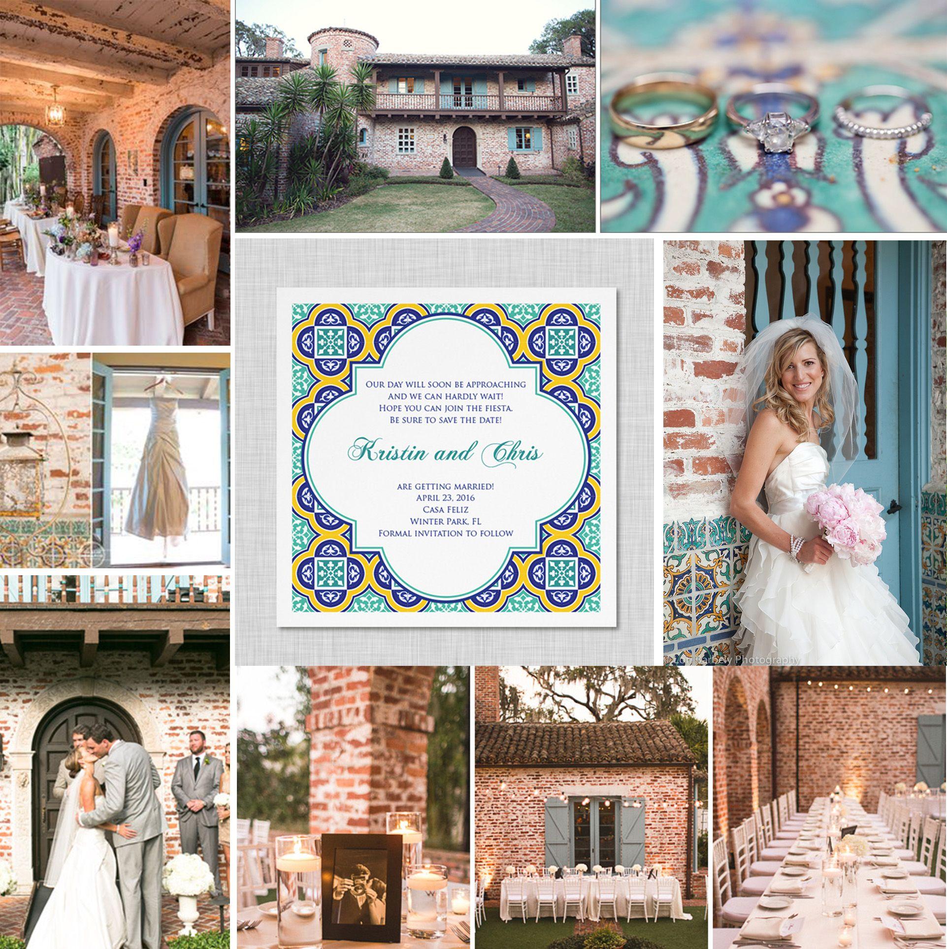 Casa Feliz Wedding. Mexican tiles wedding invitation. Spanish tiles ...