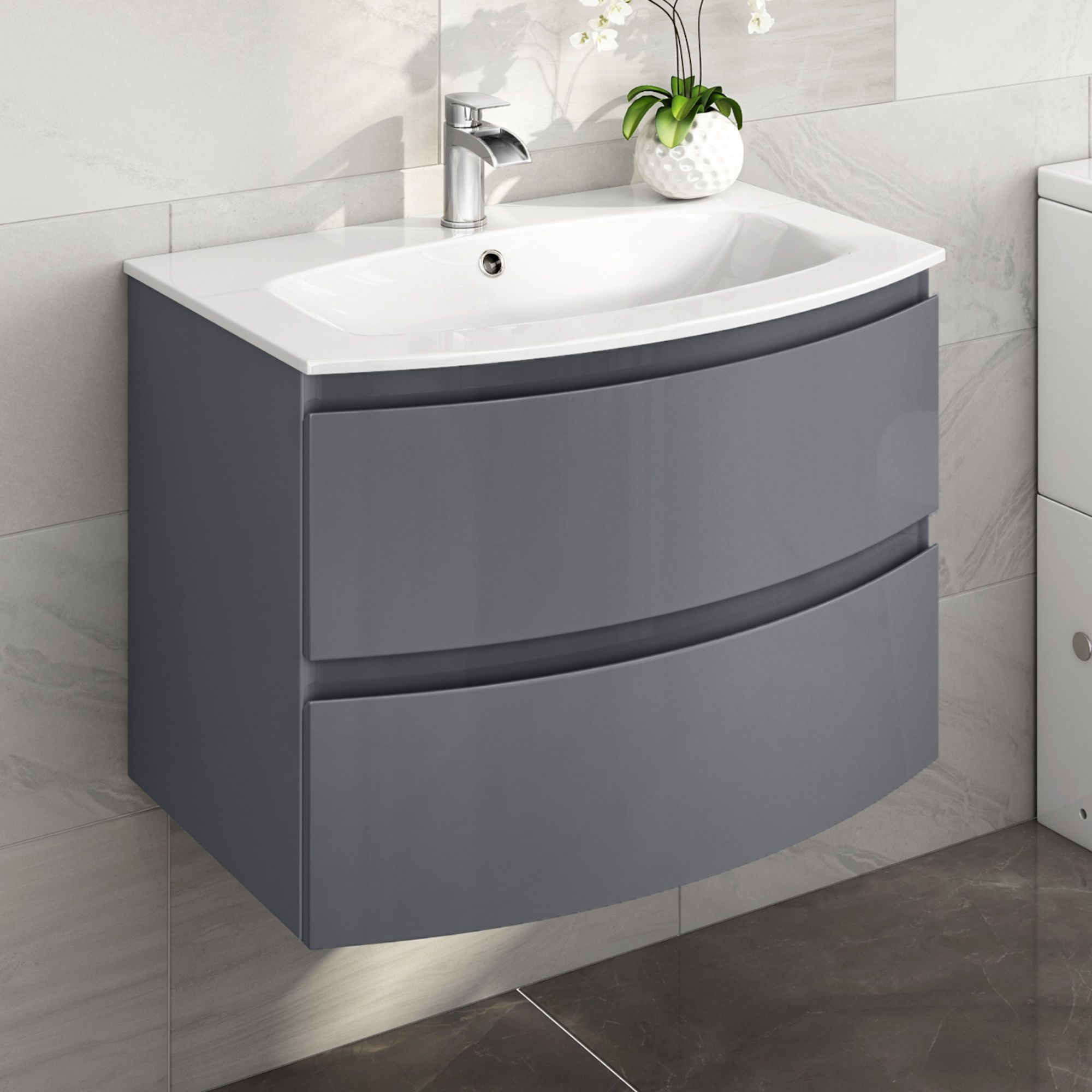 700mm Amelie Gloss Grey Curved Vanity Unit Wall Hung Grey