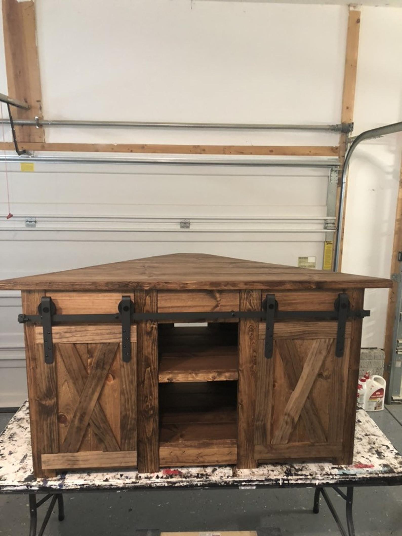 Corner tv stand farmhouse style corner unit with barn
