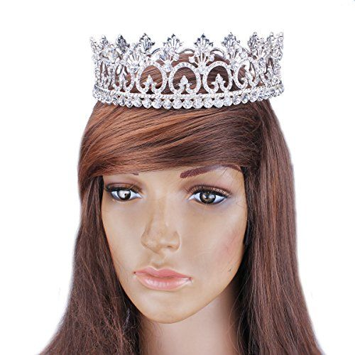 FUMUD Womens Luxury Crystal Tiara Shining Rhinestone Crown for Pageant Wedding Bridal Beauty Contest Prom Party Full Crown ** Check this awesome product by going to the link at the image.
