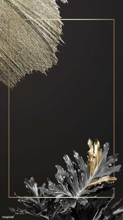 Download premium illustration of Rectangular golden frame on a nature