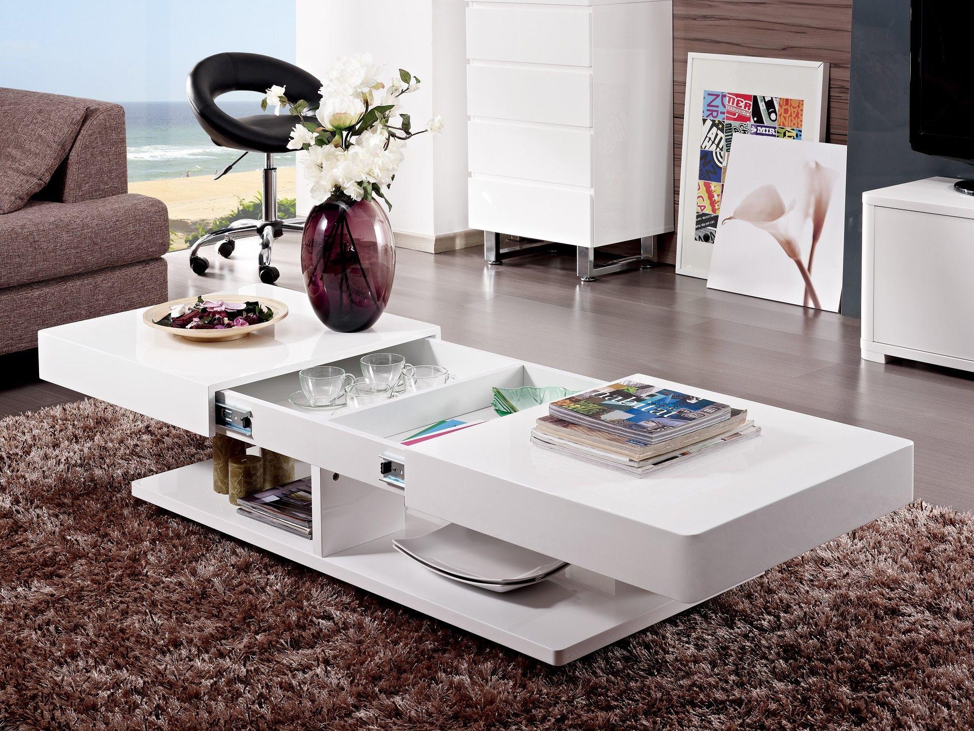 table basse design blanc laqu avec rangements et plateaux coulissants eva maison