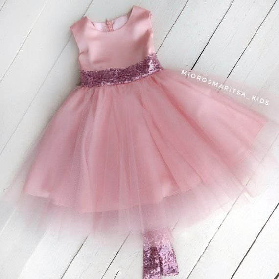 aca5d095 Elegant baby for a year fancy light pink dress Princess's dress baby outfit  lush dress for a girl