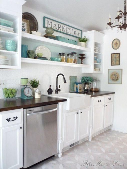 Ideas de Decoración de Cocinas con Gabinetes Reposteros en Color ...