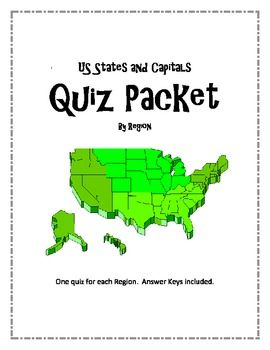 US States and Capitals by Region Quiz Packet | States ...