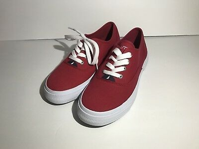 nautica mens casual athletic boat shoes deckloom red sz 7