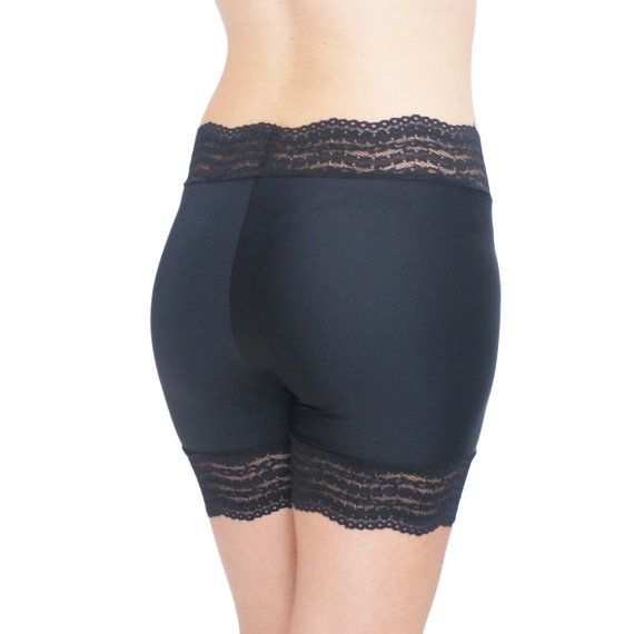 Black Biker Shorts Black Tap Pants Black Lace Shorts Lace Trimmed Shorts Black Half Slip Anti Chafing Shorts Black #shortslace