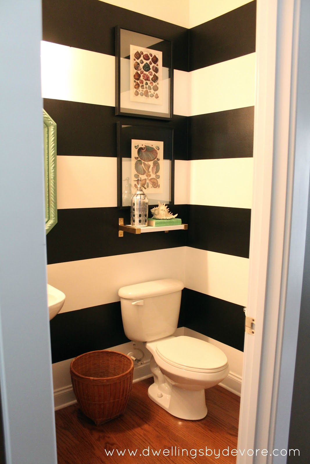 Dwellings By Devore Black And White Striped Bathroom Striped Bathroom Walls Striped Walls White Bathroom Designs