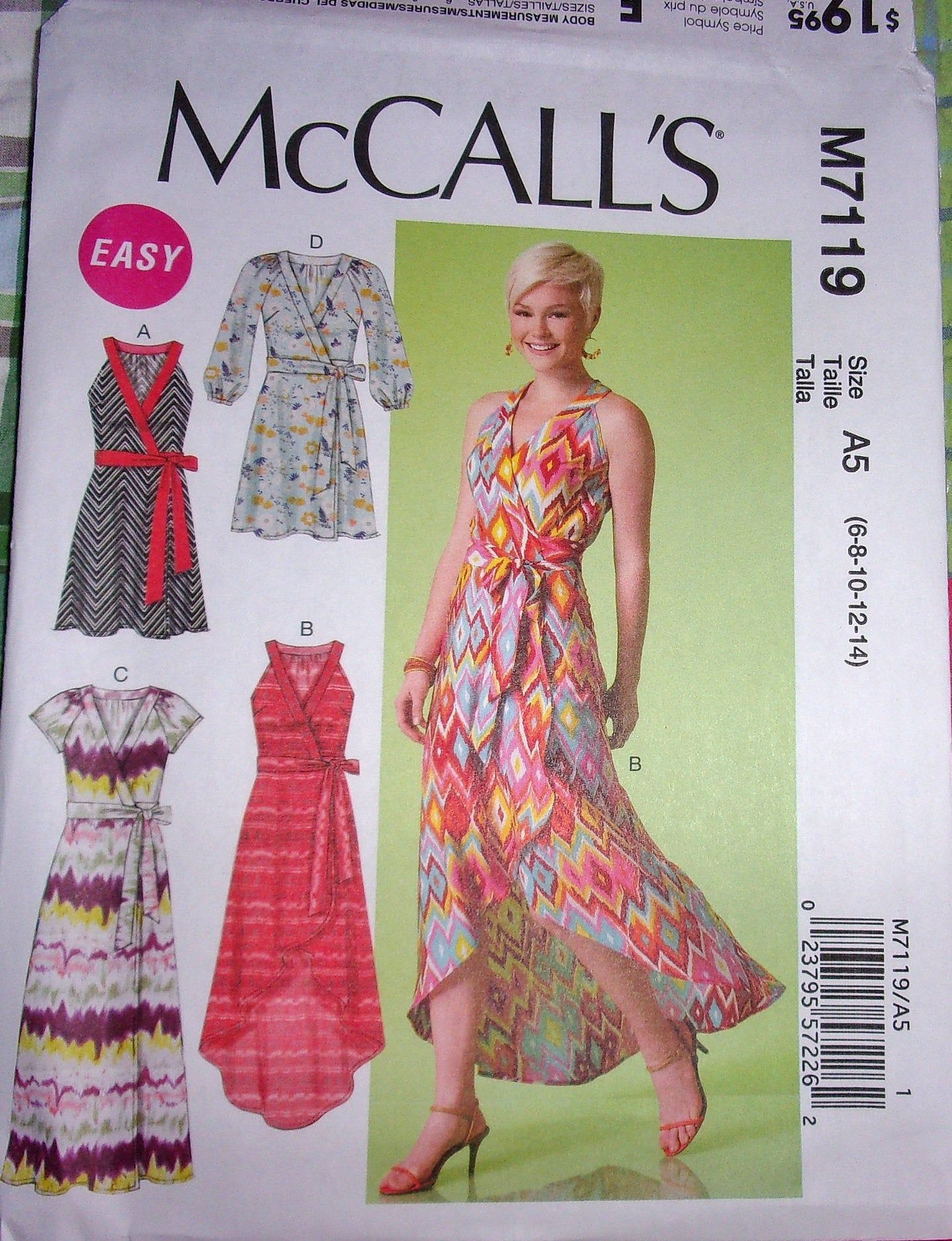 Mccall S 7119 Wrap Dress Maxi Gown Easy Sewing Pattern Tie Etsy Wrap Dress Sewing Patterns Fashion Sewing Wrap Dress Pattern [ 1875 x 1438 Pixel ]