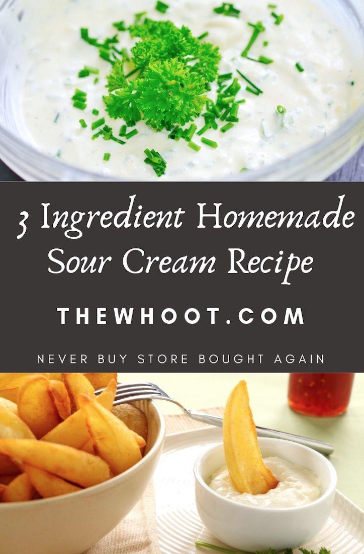 Homemade sour cream recipe 3 ingredients video homemade