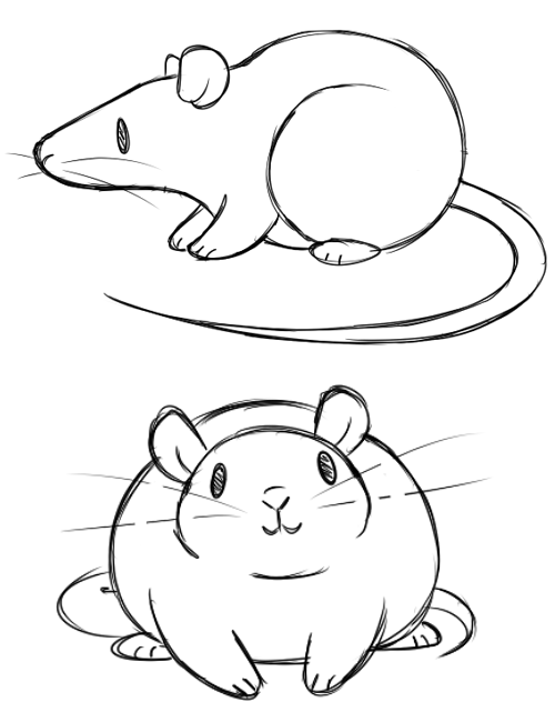Line Art Rat : Concept doodles for a simple rat design look at these