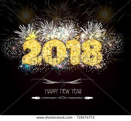 Happy New Year Golden 2018 Background Fireworks Lights Effects | Happy New  Year 2018 | Pinterest
