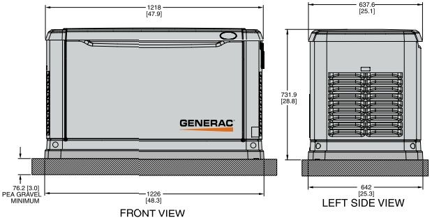 dimensions for a 20kw generac generator | generac 005883-1 005883 1  guardian auto standby generator 10 kw