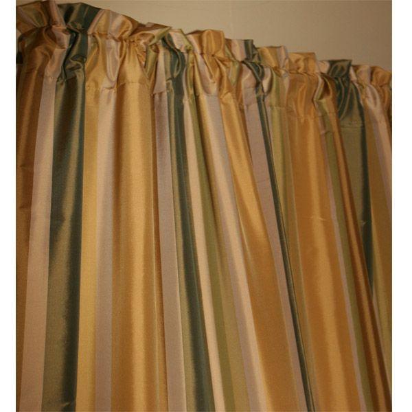 Diana Green And Gold Stripe Dupioni Silk Curtain Panel Silk