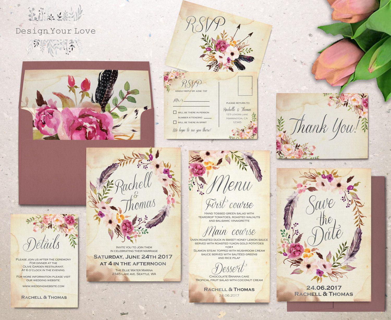 Floral Wedding Invitation Set Printable Boho Door
