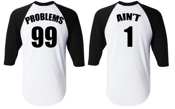 Problems 99 Ain't 1 Couple Love T-Shirt King Queen by NYCApparel