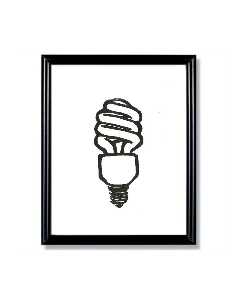LINOCUT PRINT - Light Bulb Eco Friendly Go Green Idea Bulb- 6x8 ...
